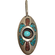 Signed Richard Begay Inlaid Turquoise and Coral Pendant