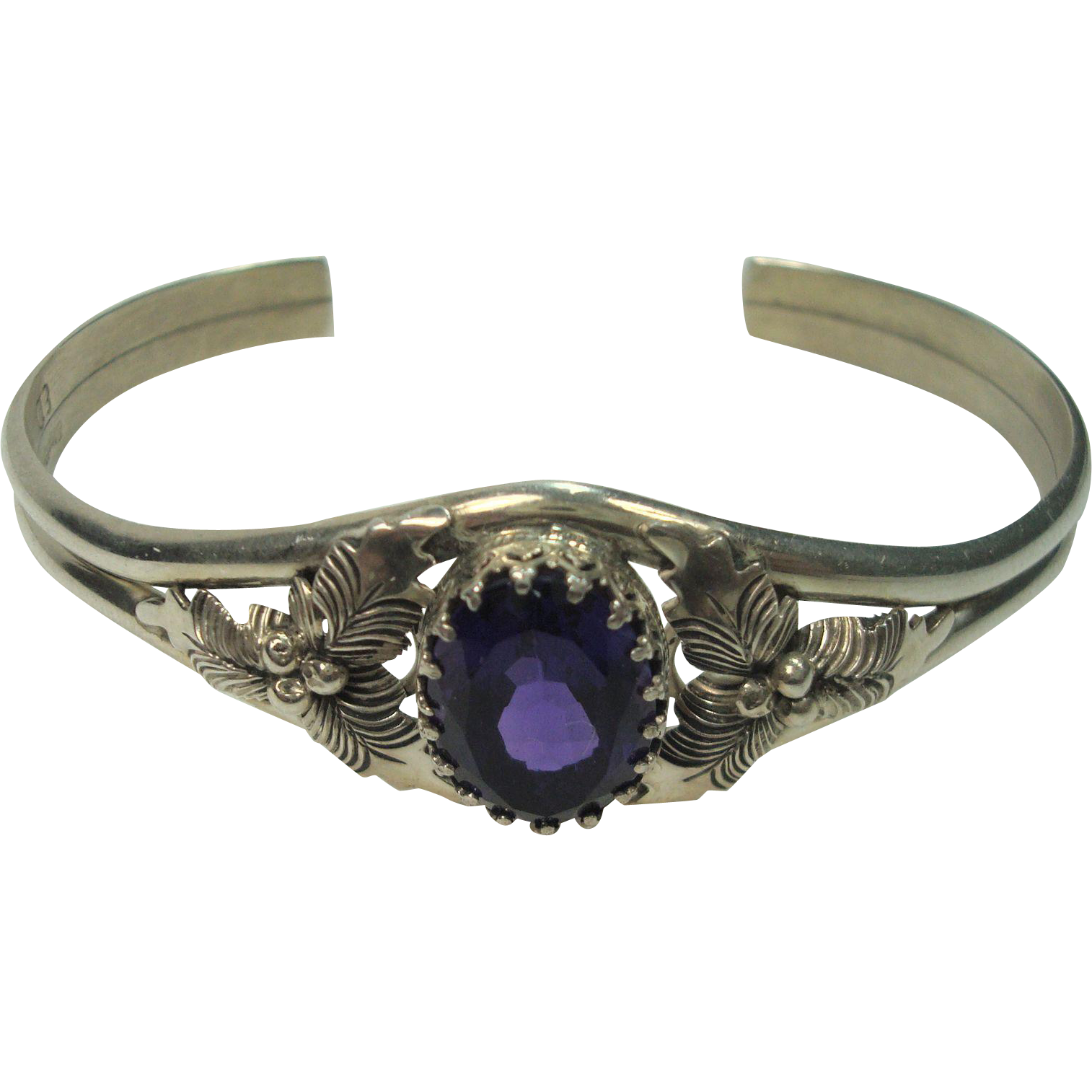Gorgeous Sterling Amethyst Leaf and Berry Bracelet