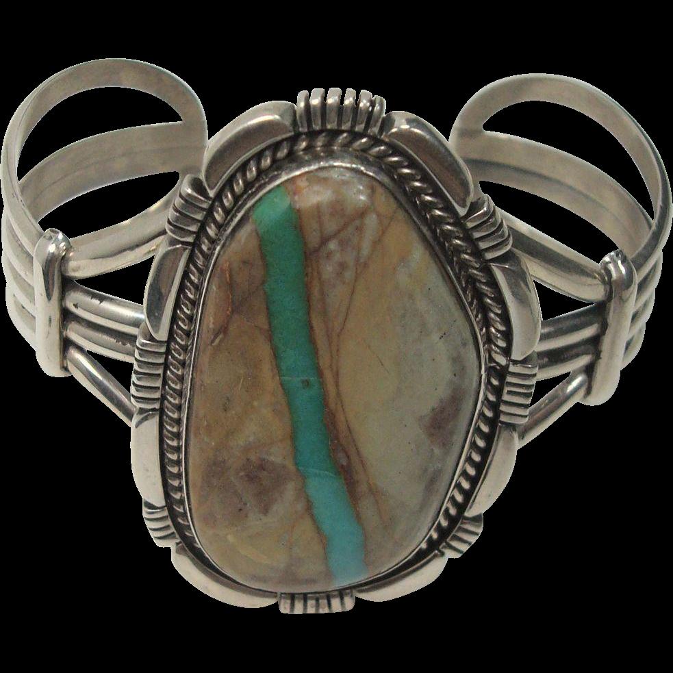 Outstanding Eugene Belone Boulder Turquoise Sterling Bracelet