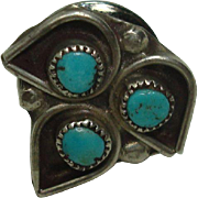 Sterling and Turquoise Native American Tie Tack