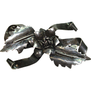 Hobe Sterling Floral, Leaf and Bow Pin or Brooch