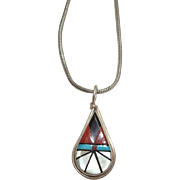 "Zuni Clifton Cheama Inlaid Pendant and 16"" Italian Chain"