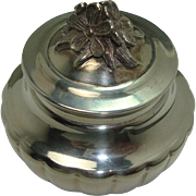 Italian Sterling Floral Lidded Ribbed Pill Box