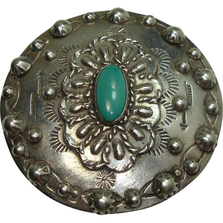 Sterling  Navajo Turquoise Concho Style Pin or Brooch