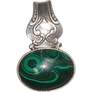 Sterling and Malachite Enhancer or Pendant