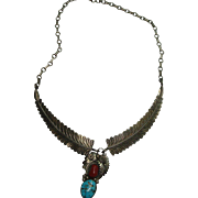Outstanding Signed Sterling Turquoise and Coral Feather Necklace