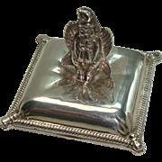 Silverplate Winged Goddess Pill Box