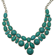 Heavy Sterling Block Turquoise Necklace