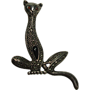 Sterling Marcasite Onyx Large Cat Pin or Brooch