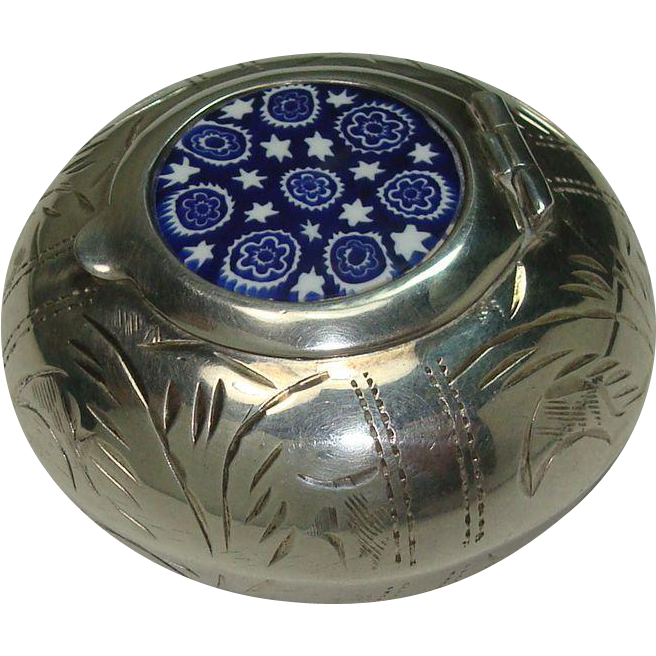 Interesting Italian Etched Sterling Enameled Pot
