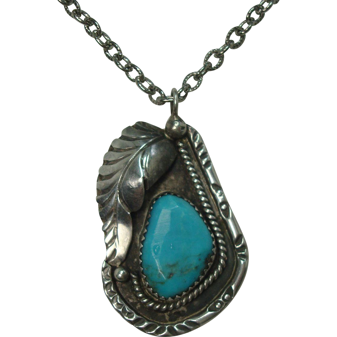 """Sterling Turquoise Leaf Pendant on 24"""" Chain"""