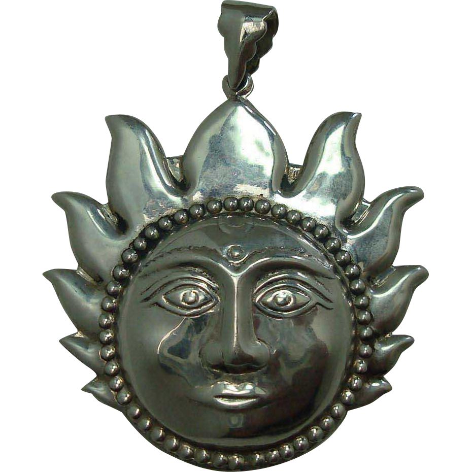 Sterling Hindu Sun Fire Pendant
