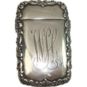 Sterling Acanthus Monogrammed WH Match Safe or Vesta