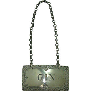 Stieff Gin Sterling Decanter Label