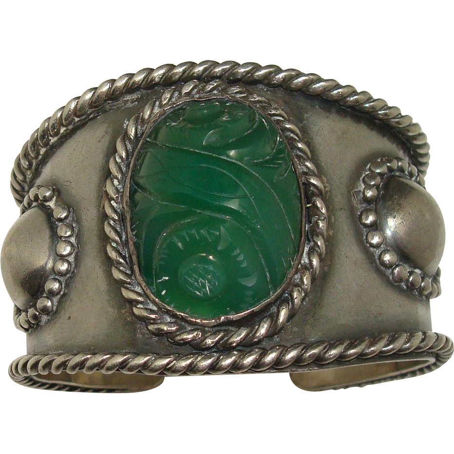 Signed Carved Green Chalcedony Sterling Cuff Bracelet