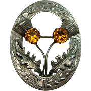 1953 Scottish Thistle Citrine Sterling Pin or Brooch