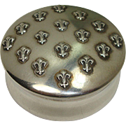 Sterling Vanity Fleur de Lis Pill Box or Small Trinket Box