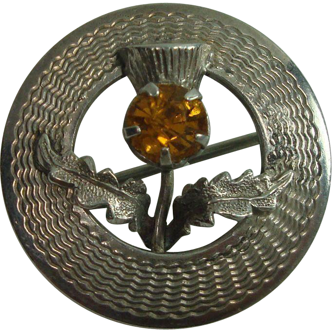 Sterling Scottish Citrine and Thistle Pin or Brooch