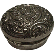 Cute Petite Sterling Repousse Floral Pill Box