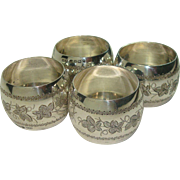 1886 Birmingham Ivy Engraved Sterling Napkin Rings