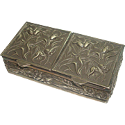 Sterling Easter Lily, Grape, Wheat and Floral Motif Double Pill Box