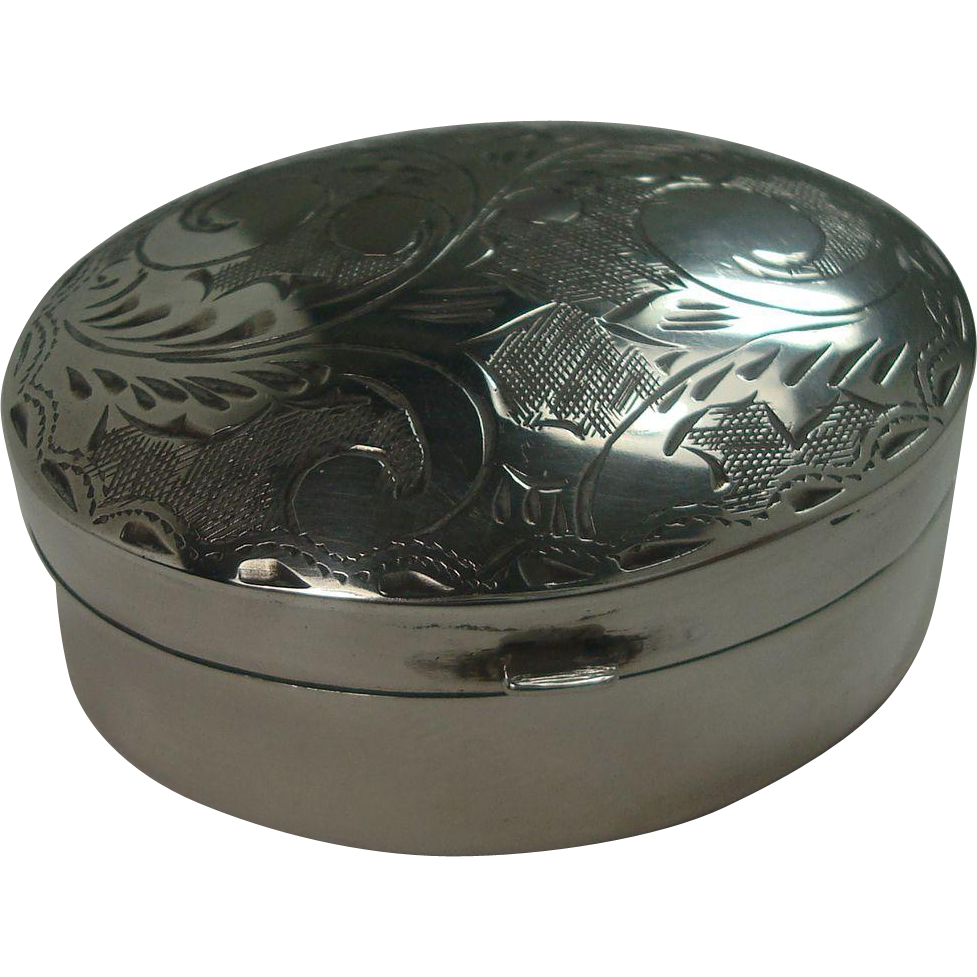 Oval Engraved Hinged Pill or Snuff Box
