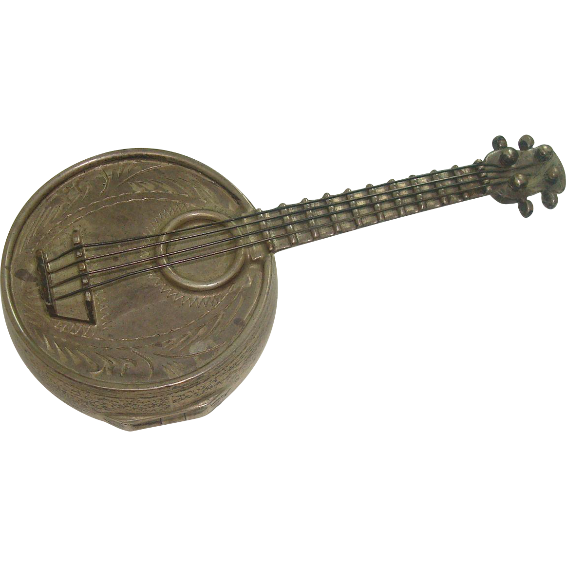 Unusual Wallace Sterling Banjo Shaped Pill Box