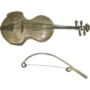 Wallace Sterling Violin and Bow Pill Box