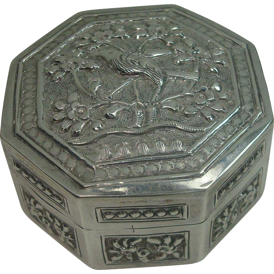 Sterling Bird Floral and Vine Trinket or Large Vanity Pill Box
