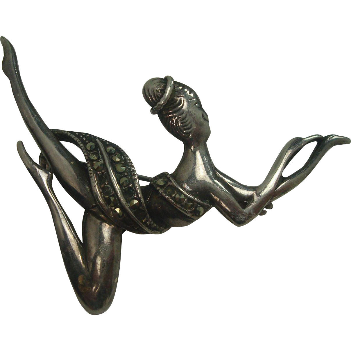 Very Cute Sterling and Marcasite Ballerina Pin Brooch