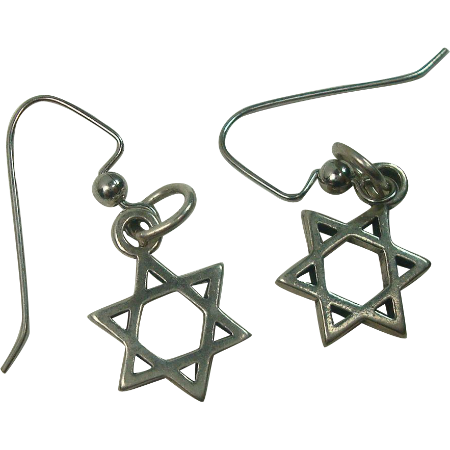Sterling Star of David Hoop Earrings
