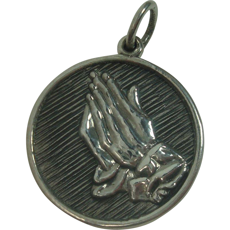 Sterling Praying Hands Pendant or Charm