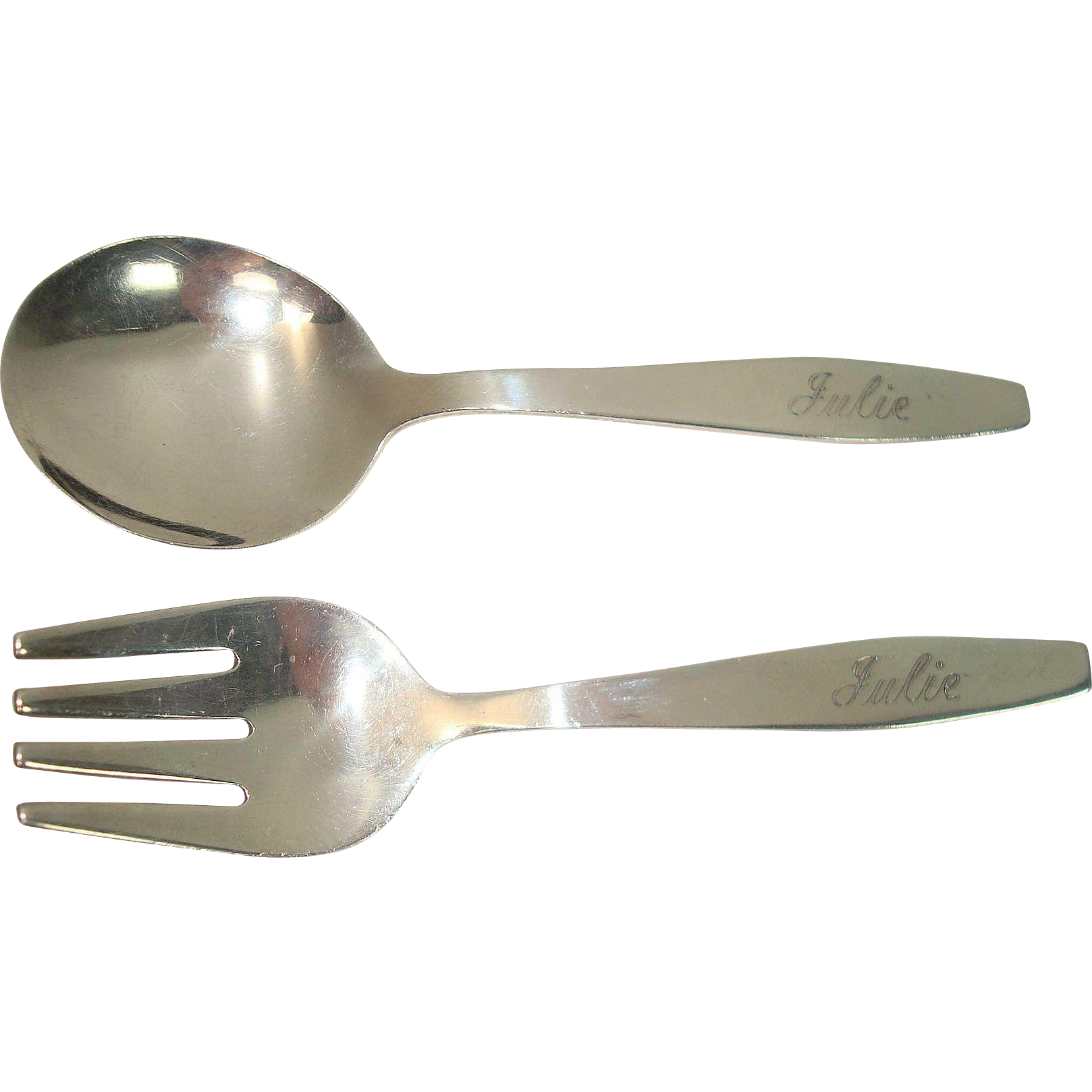 Towle Sterling Baby Fork and Spoon Set Monogrammed Julie