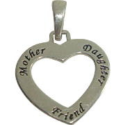 Sterling Mother Daughter Friend Charm or Pendant