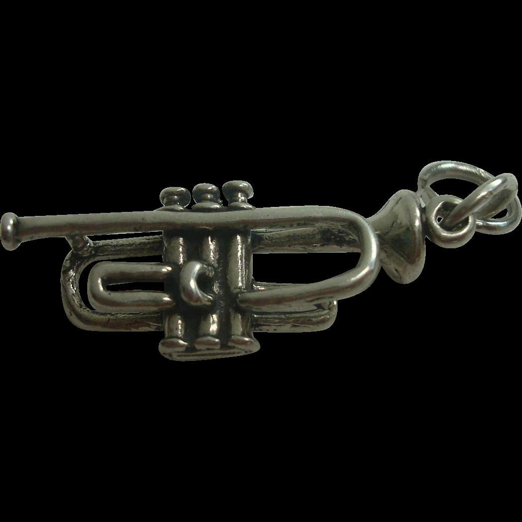 Vintage Sterling Trumpet Charm