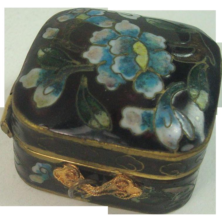 Vintage Cloisonne Floral Pill Box