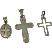 Three Sterling Cross Pendants, One Italian