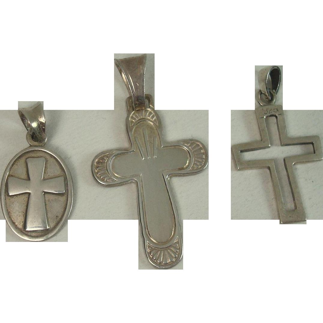 Three Sterling Cross Pendants, One Italian