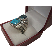 Large Navajo Sterling Turquoise Ring