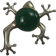 Sterling Green Stone Frog Pin or Brooch