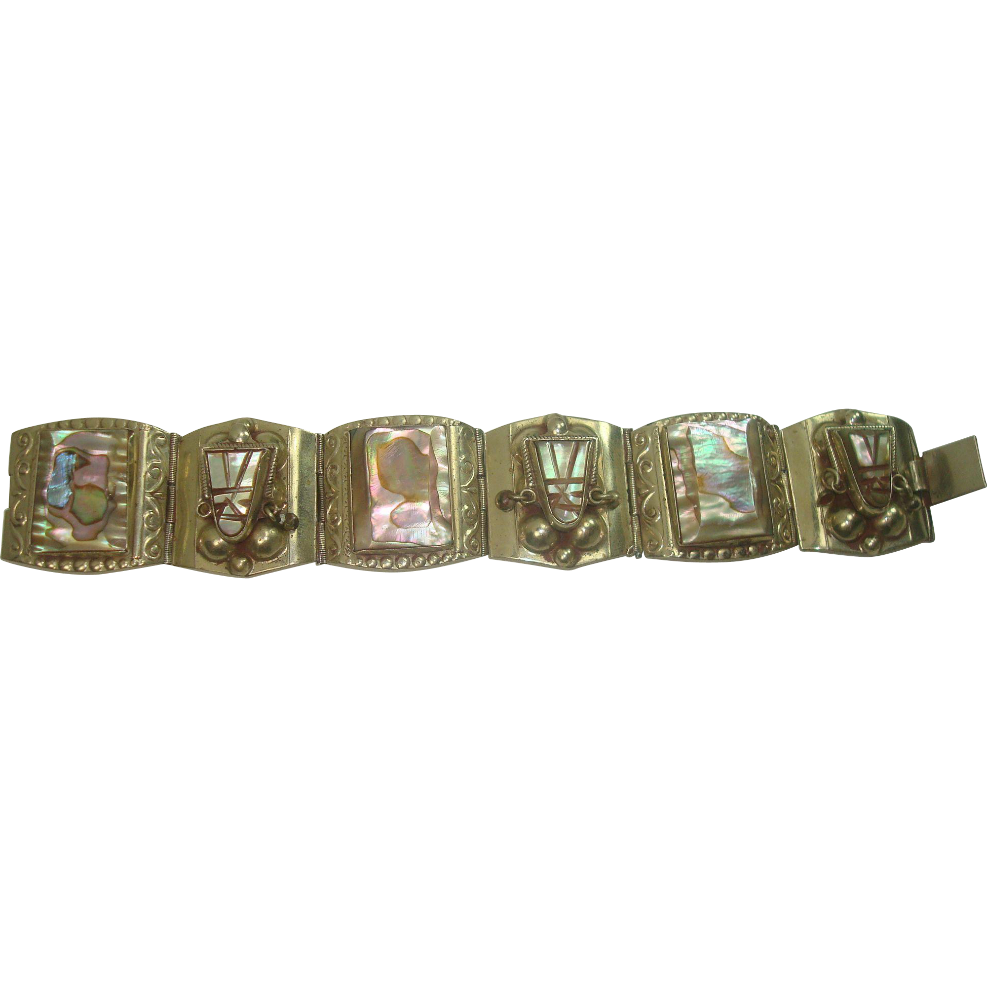 Vintage Mexican Mother of Pearl Tribal Panel Bracelet