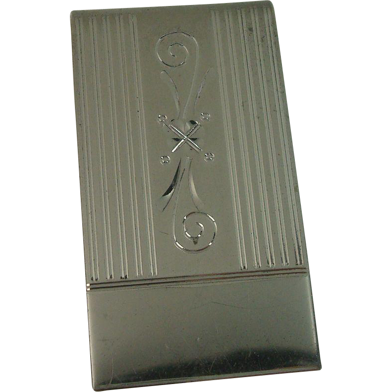 Sterling Bright Cut Floral Money Clip