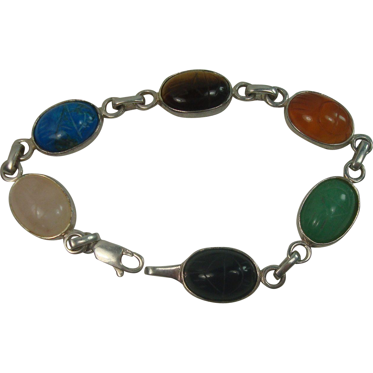"CLOSEOUT!!! Sterling Carved Cabochon Beetle 7"" Bracelet"