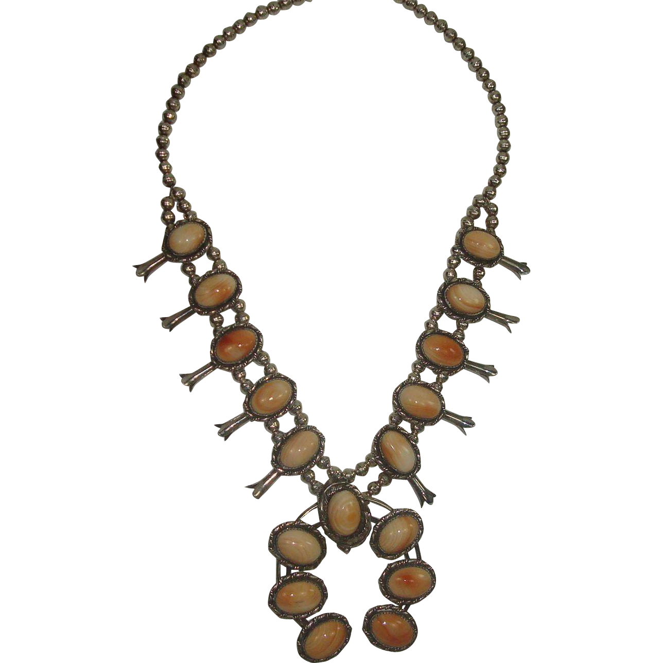Signed Navajo Sterling and Spiney Oyster Squash Blossom Necklace