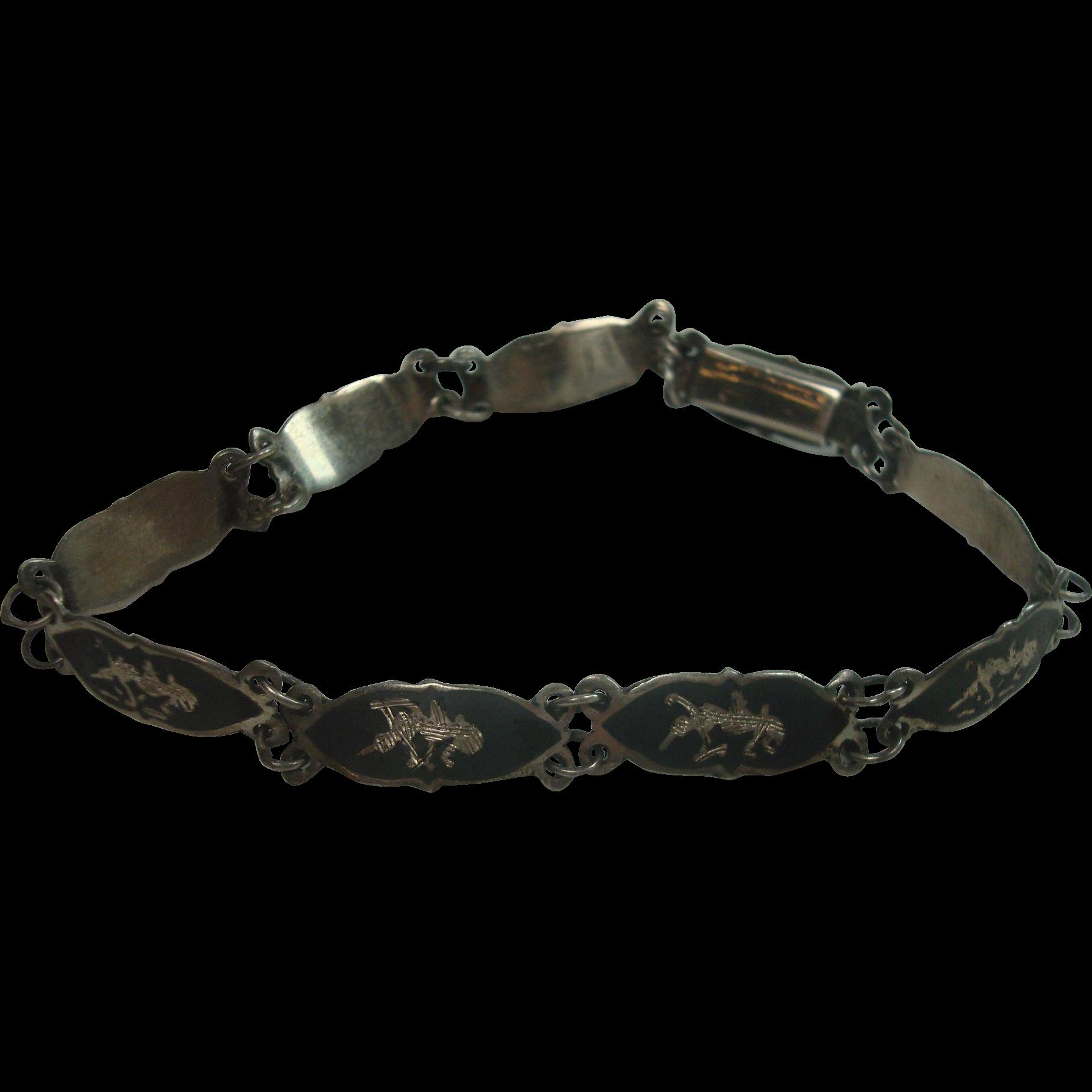 Sterling Siam Goddess Bracelet