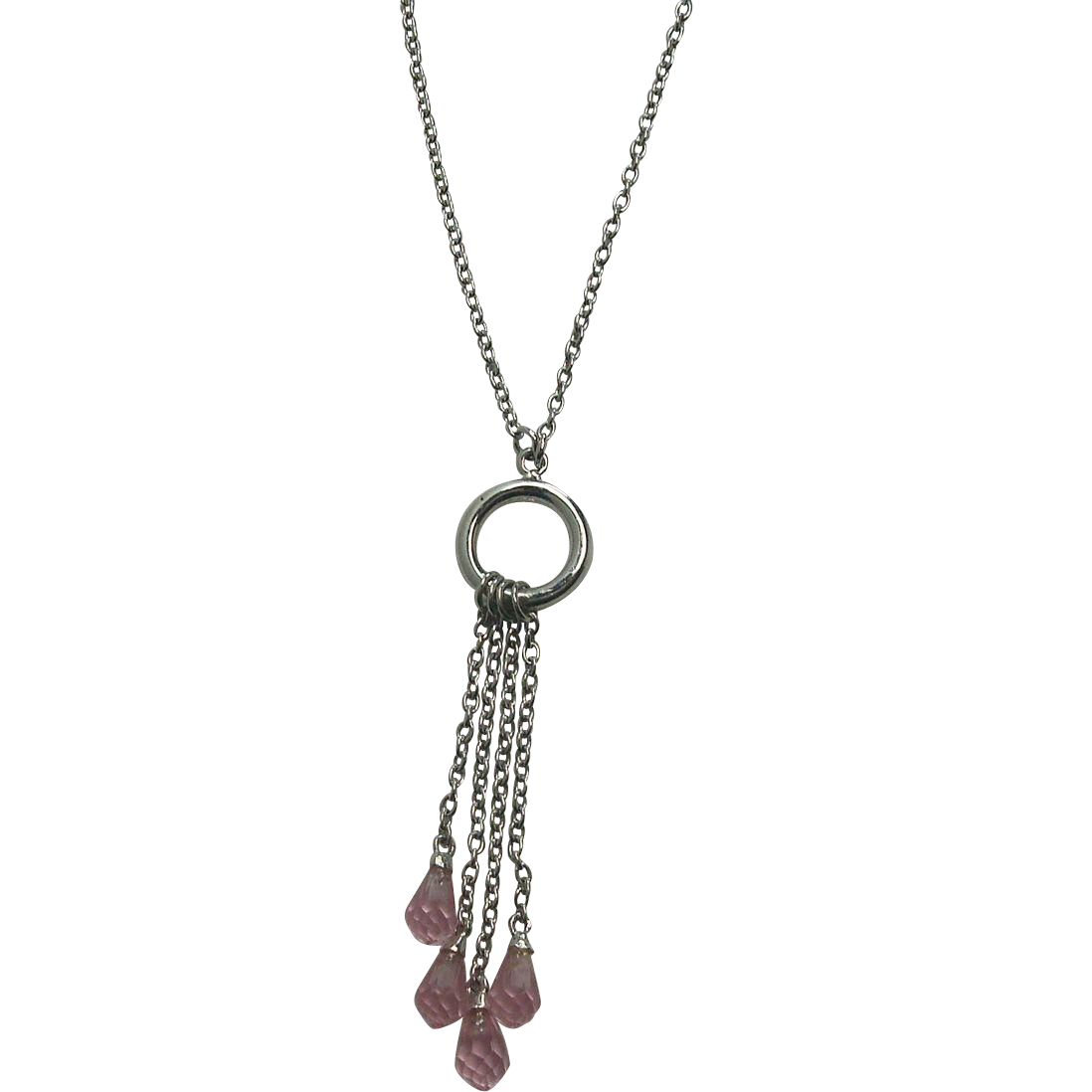 "Sterling 16"" Pink Briolette Drop Necklace"