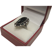 Sterling Marquise Onyx Ring