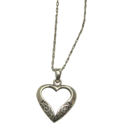 "Sterling Open Heart Pendant with 22"" Double Link Sterling Chain"