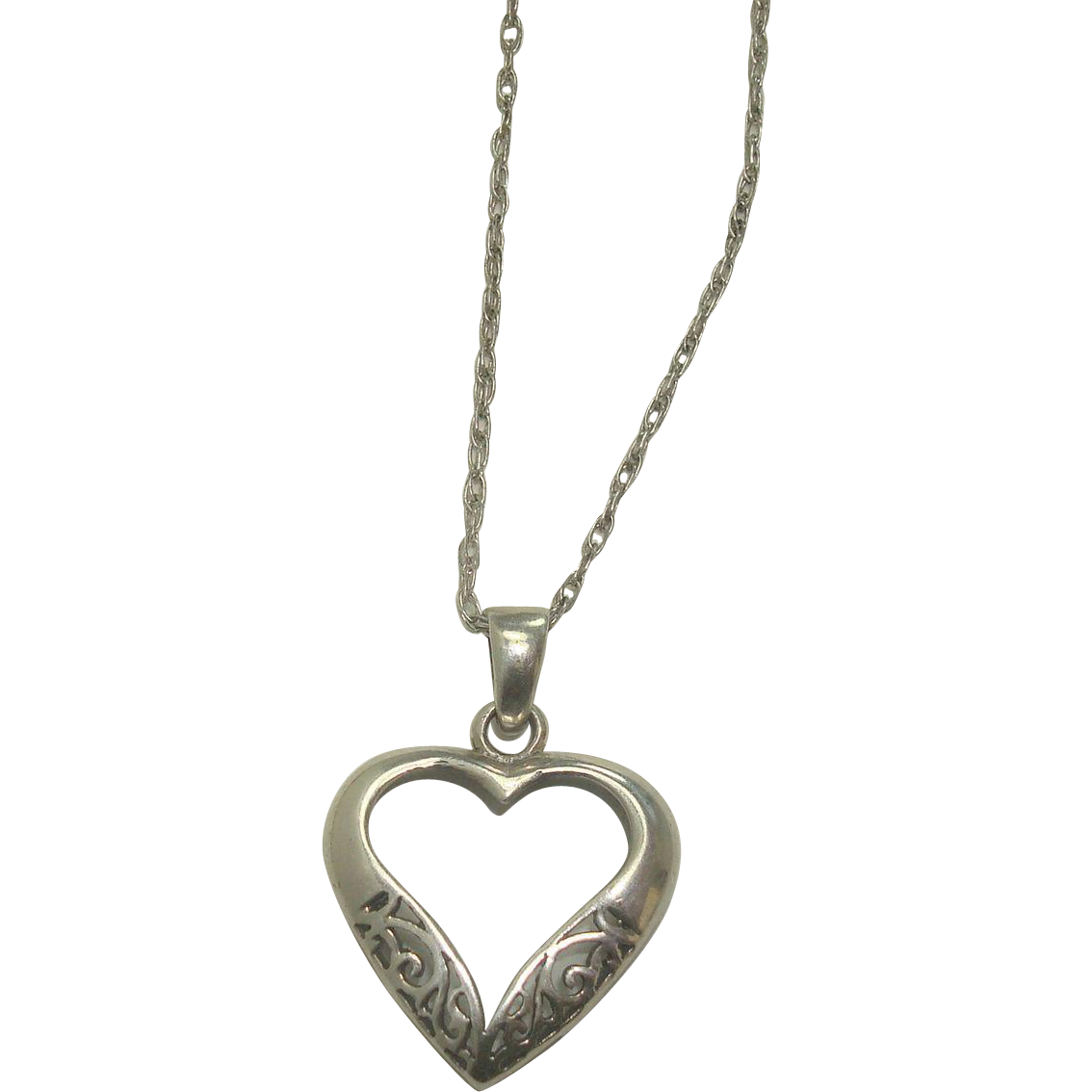 """Sterling Open Heart Pendant with 22"""" Double Link Sterling Chain"""