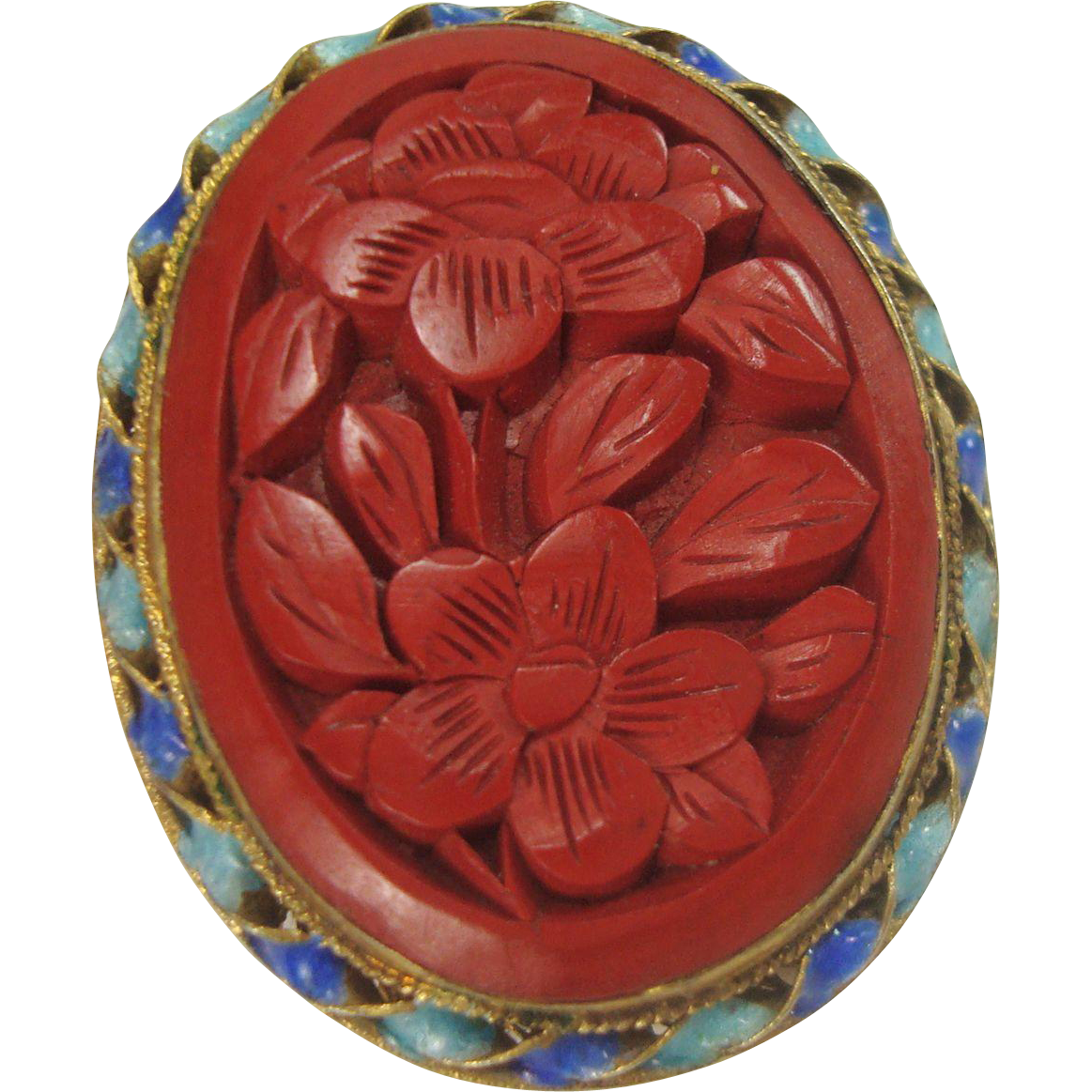 Sterling Cinnabar Floral and Enameled Pin or Brooch